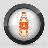 Vector illustration of a gray and orange icon depicting a bottle of apple or peach juice — Stock Vector