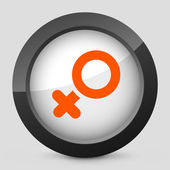 Vector illustration of a gray and orange icon depicting a symbol woman — Stock Vector