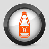 Vector illustration of a gray and orange icon depicting a bottle of tea — Stock Vector