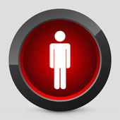 Vector illustration of a gray and red icon depicting a pedestrian traffic light — Stock Vector