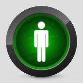 Векторная иллюстрация серый и зеленый значок, изображающий пешеходный светофор — Cтоковый вектор
