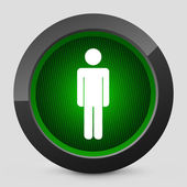 Vector illustration of a gray and green icon depicting a pedestrian traffic light — Stock Vector