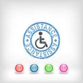 Handicap assistance stamp icon — Stock Vector