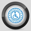 Stock Vector: Illustration of handicap assistance stamp icon