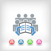 Reader with a group of listeners concept icon — Stock Vector