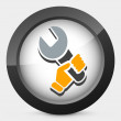 Wrench holding icon — Stock Vector