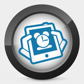 Tablet clock icon — Stock Vector