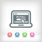 Pc install icon — Vector de stock