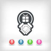 Handshake for gift icon — Stock Vector
