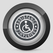 Handicap assistance stamp icon — Stock Vector