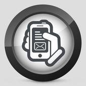 Mensaje en icono del smartphone — Vector de stock