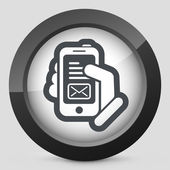 Message on smartphone icon — Vector de stock