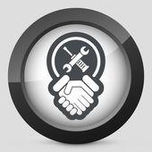 Worker handshake icon — Stock Vector