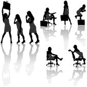 Business Woman Silhouettes — Stock Vector