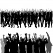 Crowd Silhouettes — Stock Vector