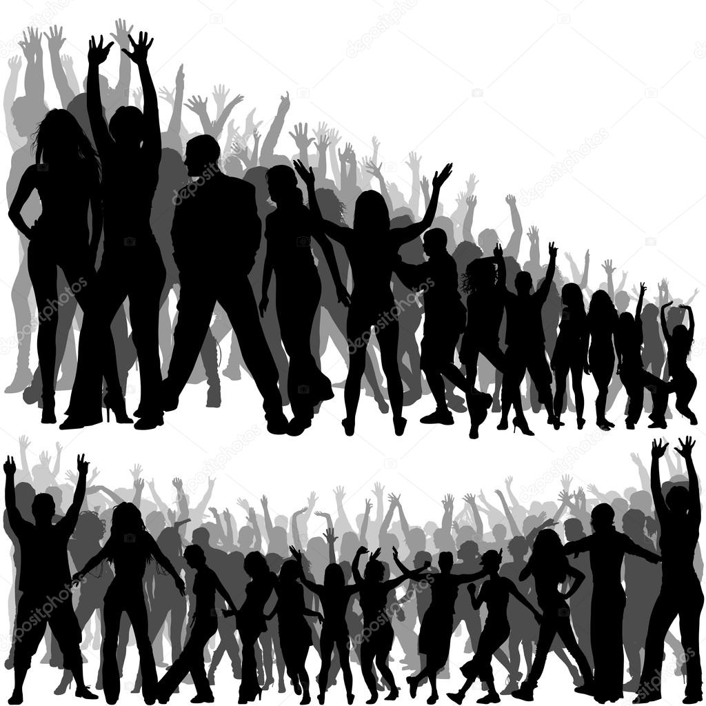 Standing crowd silhouette - photo#43