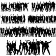Stock Vector: Crowd Silhouettes