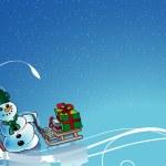 sneeuwpop en bloemen — Stockvector