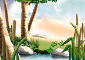 Betulla e piccolo lago — Foto Stock