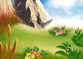 Meadow And Rock — Stock Photo