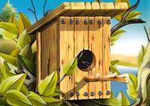 Wood Bird House — Stock Photo