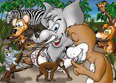 Cartoon Safari — Stock Photo