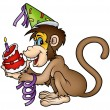 Monkey And Birthday Cake — Stock Vector