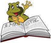 青蛙和书 — 图库矢量图片