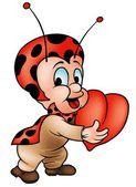 Ladybird And Heart — Stock Vector