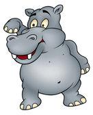Hippo Waving Goodbye — Stock Vector