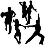 Latino Dance Silhouettes — Stock Vector