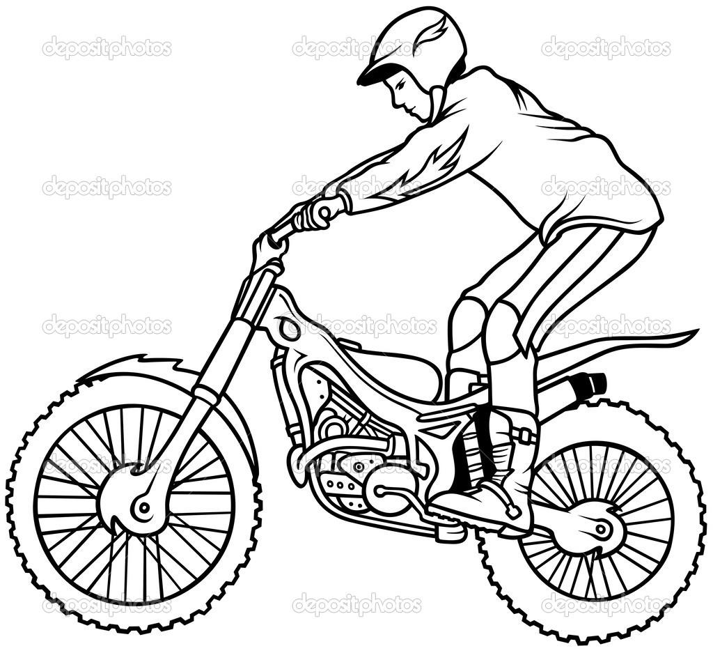 摩托车越野赛-手绘插画