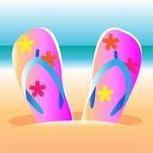 Flip-flops on the beach — Stock Vector