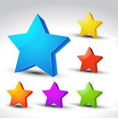 3d star set — Stock Vector