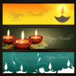 Set of vector diwali headers — Stock Vector