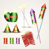 Diwali crackers set — Stock Vector