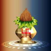 Kalash adoración hindú — Vector de stock