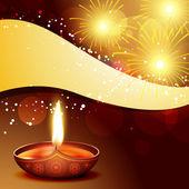 Diwali diya with fireworks — Stock Vector