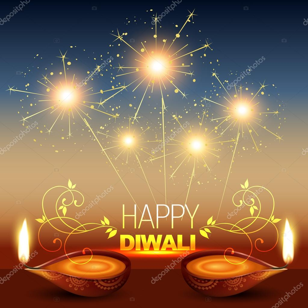 Stylish diwali diya with fireworks — Stock Vector #13544558
