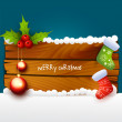 Christmas illustration of wood background — Stock Vector