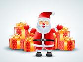 Weihnachtsmann mit geschenken — Stockvektor