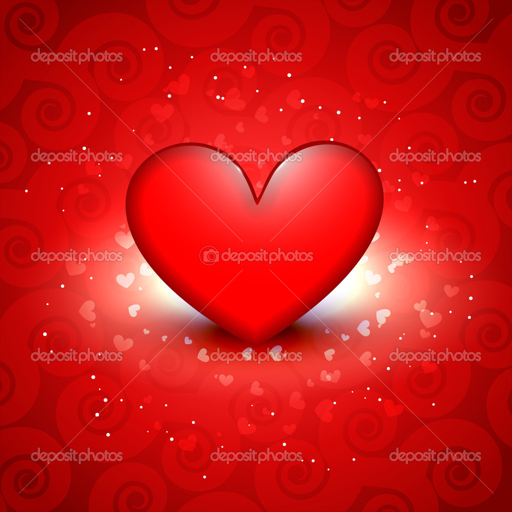 Beautiful shiny red heart vector background — Stock Vector #19667401