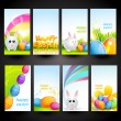 Stock Vector: Set of easter cards