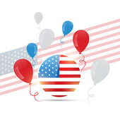 American flag design with balloons — Stock Vector