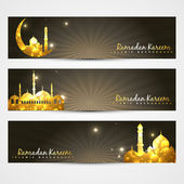 Set of ramadan headers — Stock Vector