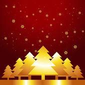 Golden christmas tree — Stock Vector
