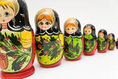Russian matryoshka doll on white background — Stock Photo