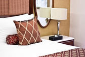 Pillows in Hotel bedroom — Stock Photo