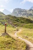 Segno del percorso sulle alpi italiane — Foto Stock