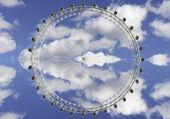 Yansımaları, london eye — Stok fotoğraf